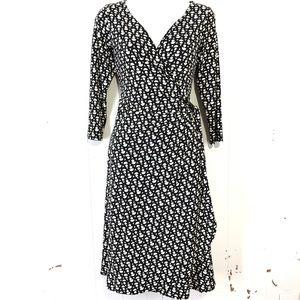 LONDON TIMES Black White Full Wrap Style Dress  10